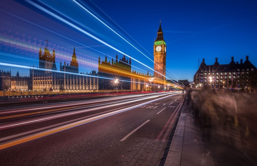 London Night by Walid Ahmad - City,  Street & Park  Night ( london, long exposure, night, cityscape, city )