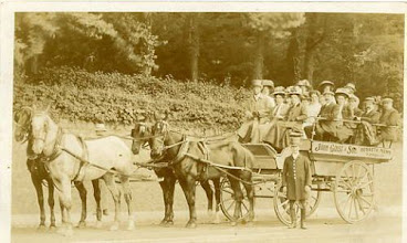 Photo: Nothing to do (directly) with Bovey Tracey, but an interesting card (date unknown) published by a local firm in Torre (near Torquay) of a horse-drawn coach tour to Dartmoor by the Torquay-based firm of John Grist & Son. It's not clear whether the tourists came all the way from Torquay by these means, but that seems unlikely somehow.
