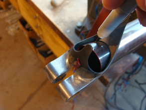 Photo: Getting started on mitering the top tube, I use the lug as a template and mark the outline of where I need to cut.