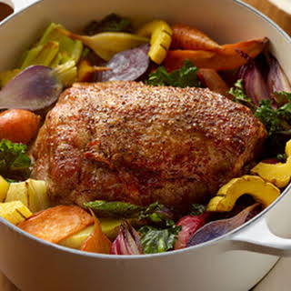 Herb Roasted Pork and Assorted Root Vegetables.