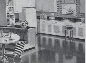 Photo: a 1947 dream of a kitchen. When I was a girl in the 50's I wished we could have a banquette like this