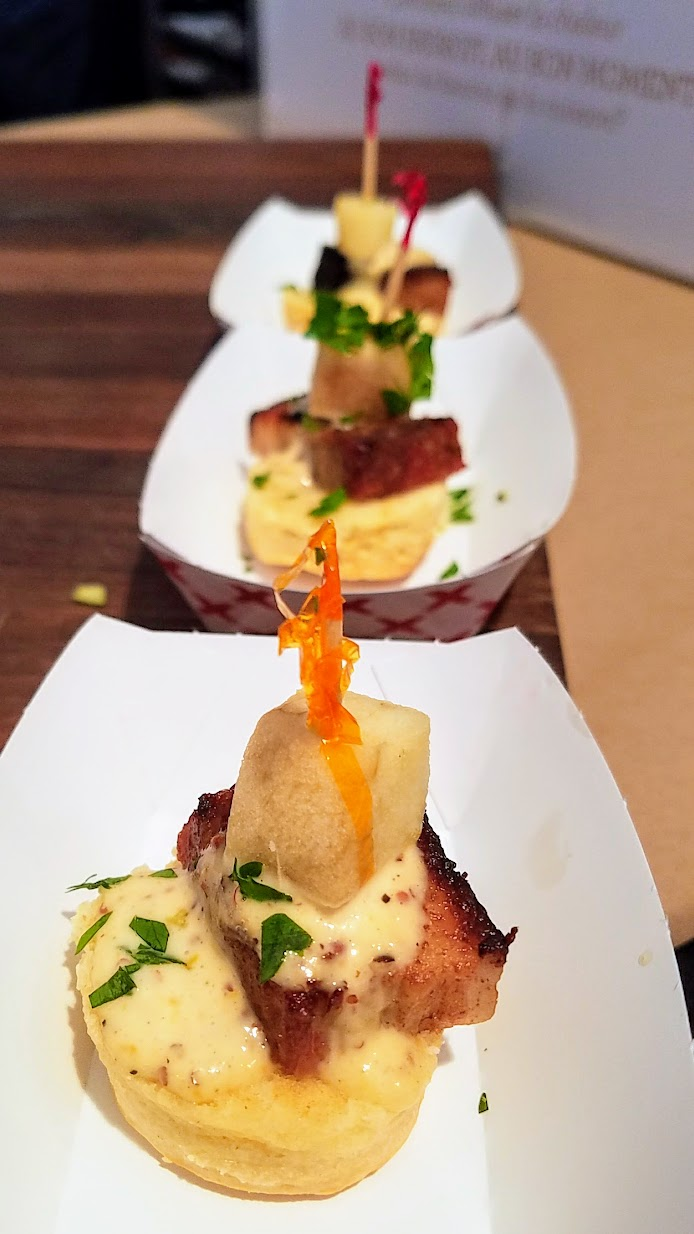 Feast PDX 2016 Grand Tasting Braised Pork Belly, Mini Buttermilk Biscuit, White Gold BBQ Sauce and Pickled Apple