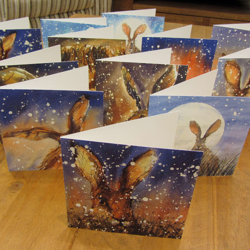 Hare rabbit christmas greeting cards 12 pack