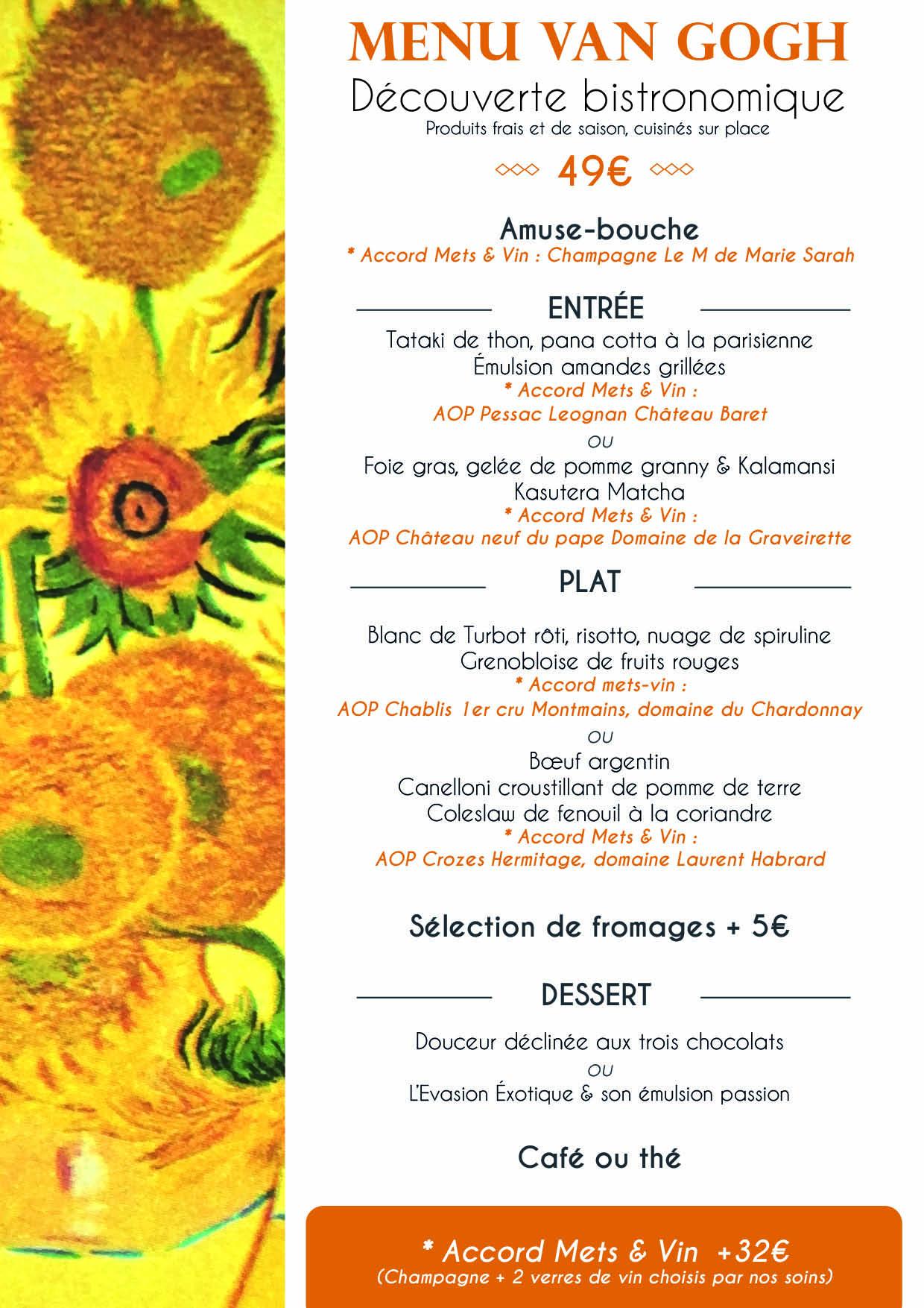 Menu Bistronomie Van Gogh