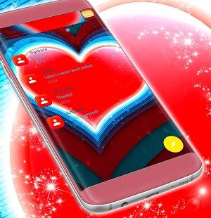 Téma červené srdce SMS - náhled