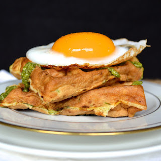 Zucchini Cheddar Waffles with Pesto and Fried Duck Eggs