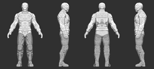 Photo: Complete base model of human male in armor and helmet. It will be textured next.