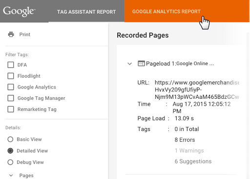 Informe Analytics de Google Tag Assistant Recordings