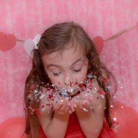 Confetti  by Chris Cavallo - Babies & Children Child Portraits ( valentine's, hearts, girl, red, maine, confetti, pink, balloons, portrait,  )