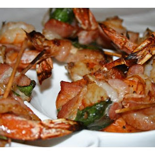Bacon Wrapped Prawns With Basil and Tellicherry Pepper.