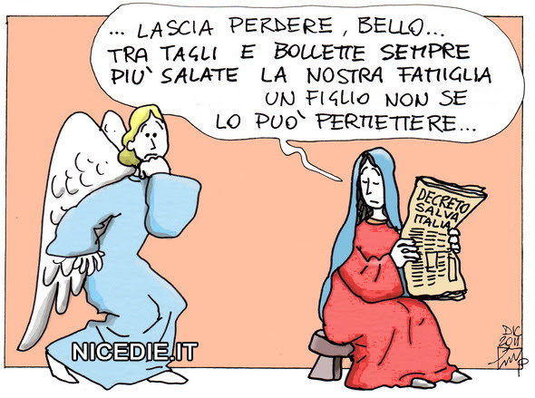Maria appena vede l'angelo:
