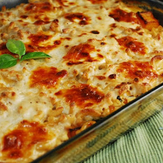 Butternut Squash and Spinach Pasta Casserole Recipe with Caramelized Onions.