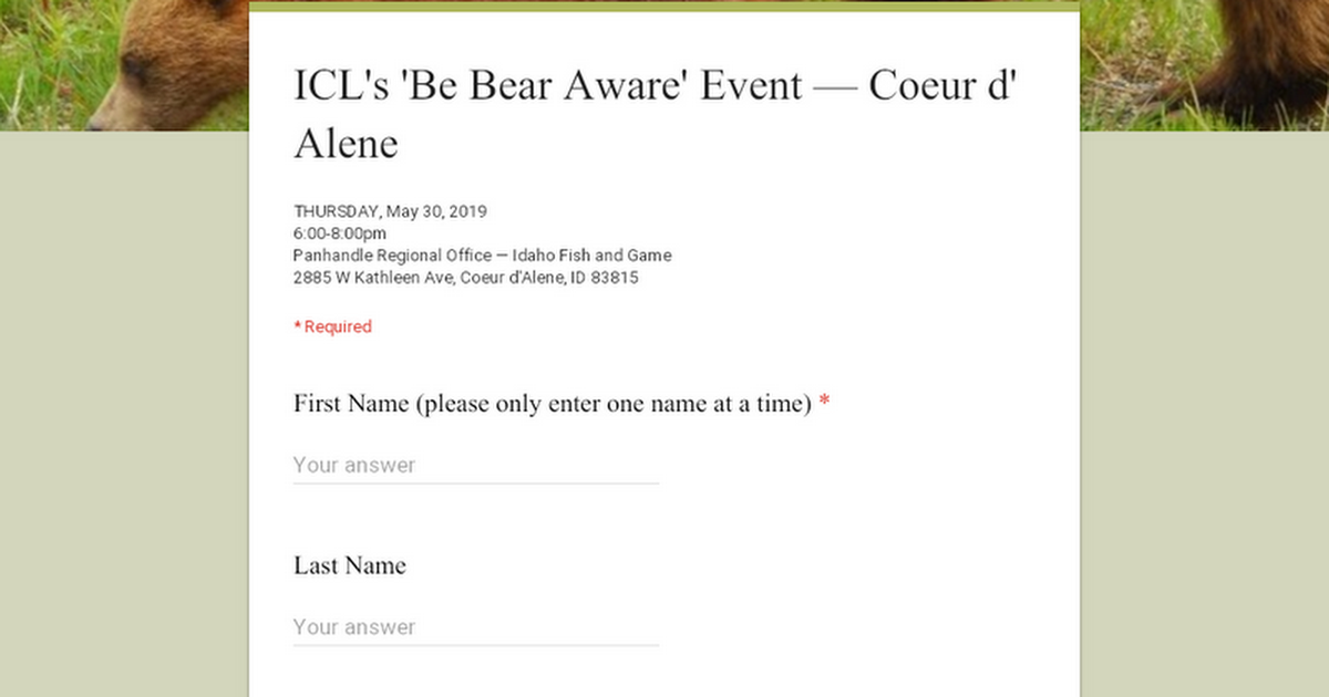 ICL's 'Be Bear Aware' Event — Coeur d' Alene