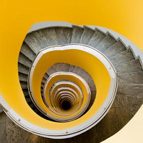 Citron Stairs by Niki Feijen - Buildings & Architecture Architectural Detail ( modern, stairs, citron, stairwell, art, staircase, treppe, spiral, yellow, vertigo, lemon )