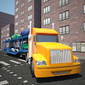 Car transport 3D trailer truck icon