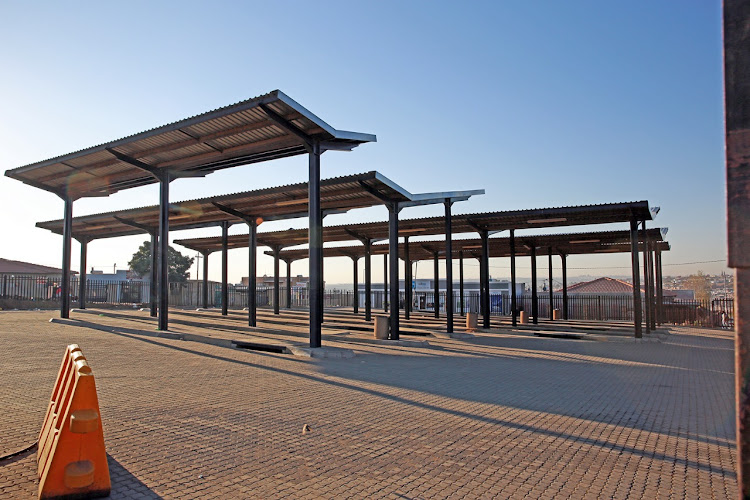 An empty taxi rank in Tembisa.