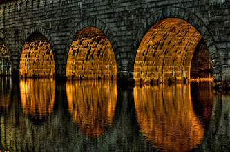 """Photo: Golden arches  I'm driving by the aqueduct today and the light is creeping through the arches just right. I say to myself, """"I wish I had a camera."""" This time I did.  #365Project curated by +Simon Kitcher  #MirrorMonday curated by +Gemma Costa"""