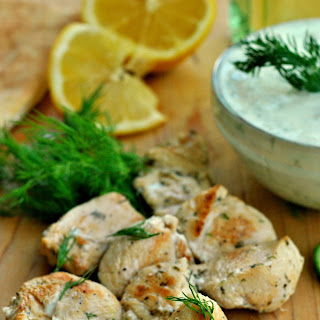 Greek Lemon Chicken with Tzatziki Sauce.