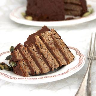 Pancake Cake with Sweet Potato Chocolate Frosting