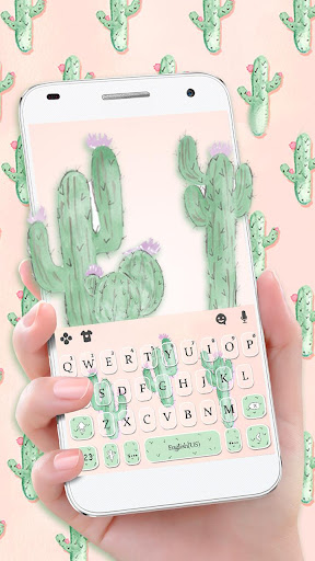 Cute Cartoon Cactus Keyboard Theme 1.0 screenshots 1