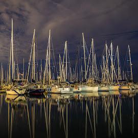 Yachts Sleepy time by John Witt - Transportation Boats ( nightshot, night seascape, night harbour, silaboats, sailing yachts )