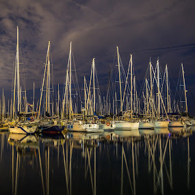 Yachts Sleepy time by John Witt - Transportation Boats ( nightshot, night seascape, night harbour, silaboats, sailing yachts,  )
