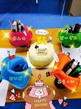 Photo: 4/16 奎伍さんの誕生日〜*\(^o^)/* お揃いの筆入れプレゼント♪