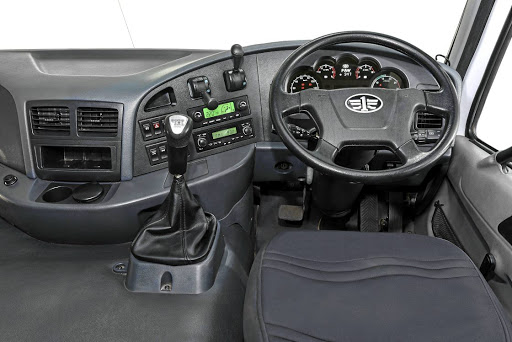 The cab's interior layout is designed with driver comfort and efficiency in mind.    Picture: FAW SA