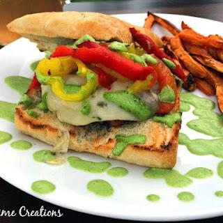 Pepper Chicken Burger with Sweet Potato Fries and garlic/basil aoli sauce