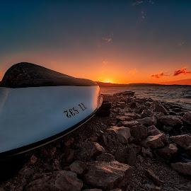 Dry Dock Sunset by Branko Meic-Sidic - Transportation Boats ( orange, hdr, sunset, dramatic, croatia, boat, colours, meicsidic )