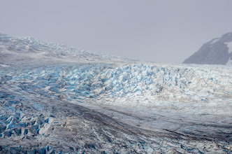 Photo: For a moment, the sun shines on seracs of Reid Glacier