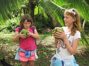 Photo: Drinking fresh coconut juice on the tour of Finca Kobo