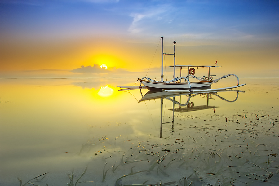 Alone in the early morning by Made Geriaputra - Transportation Boats