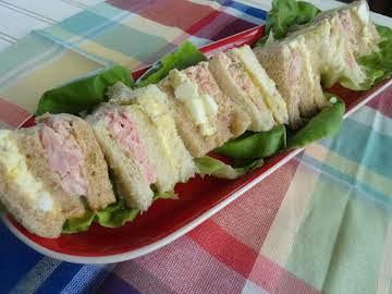 Party Ham & Egg Salad Sandwiches