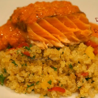 Quinoa Pilaf with Roasted Salmon and Red Pepper Sauce