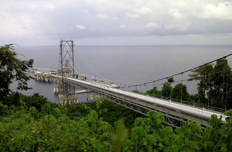 DEVELOPMENT: A general view of the liquefied natural gas pipe rack suspension bridge, in Punta Europa, a small port near Malabo, Equatorial Guinea's capital city. Picture: REUTERS