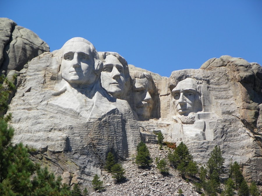 Mt. Rushmore by Sandy Stevens Krassinger - City,  Street & Park  Historic Districts ( presidents, faces, mountain, park, carving, monument, historical,  )