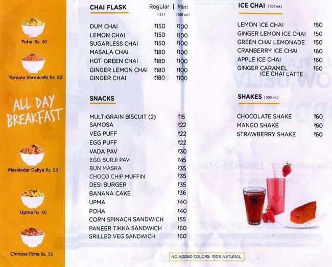 Chai Point menu 1