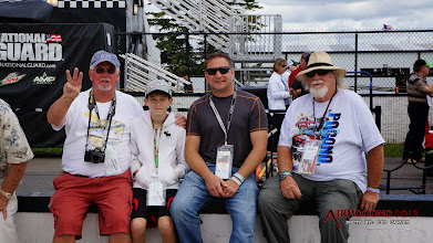Photo: Grampa is either an Earnhardt Sr fan (#3, Mason is clearly a Jr fan, #88) or maybe he's just pointing out that there's three generations sitting next to each other enjoying all of this?  Yeah, that might be it.