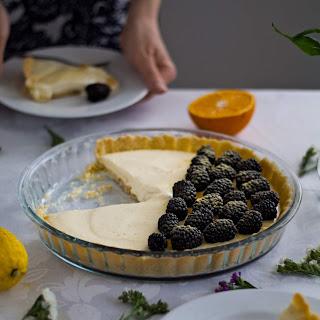 Lemon Tart with Orange Zest and Blackberries.