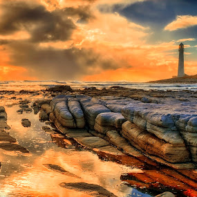 protector of the sea by Crighton Klassen - Landscapes Waterscapes ( sunset, lighthouse, ocean, rocks )