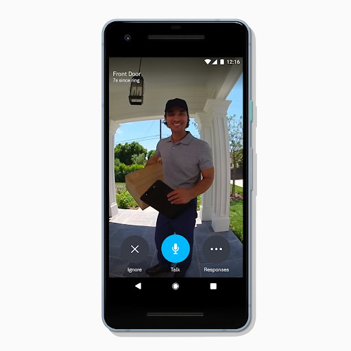 Live HD video of package delivery from Nest Hello on a smartphone