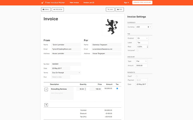 free invoice maker chrome web store