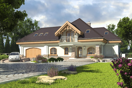 projekt Dzierlatka IV z garażem 2-st. A