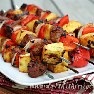 Barbecue Steak and Pineapple Kabobs.
