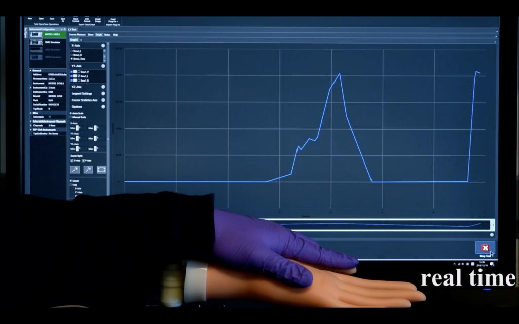Передача данных в реальном времени с датчика eh, напечатанного на фиктивной руке и нажатого другой рукой.