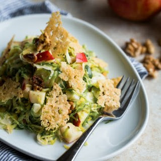 Brussels Sprout Salad with Apple, Walnuts, and Parmesan-Pecorino Crisps