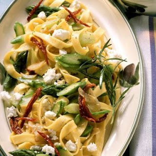 Sheep's Cheese and Asparagus Tagliatelle.