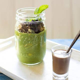 Raw Breakfast Parfait with Spirulina Milk.
