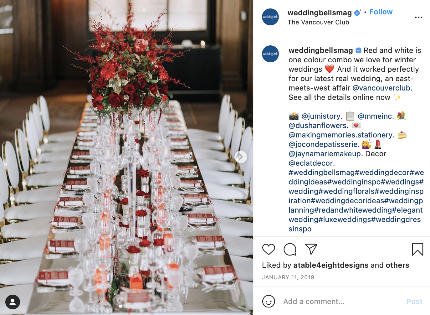 photo of white and red tones at the head table